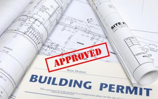 Commercial Building Permit Plans with Approval Stamp